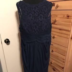 DAVID'S BRIDAL Navy Lace maxi formal dress